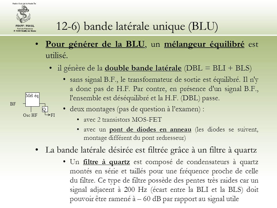 12-6) bande latérale unique (BLU)