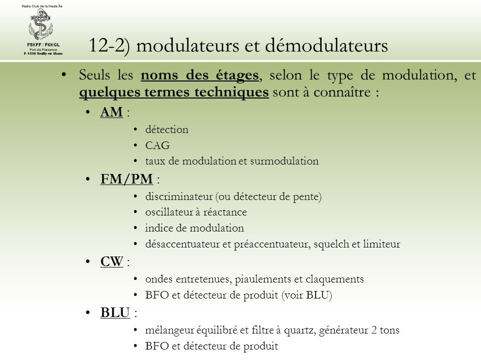 12-2) modulateurs et démodulateurs