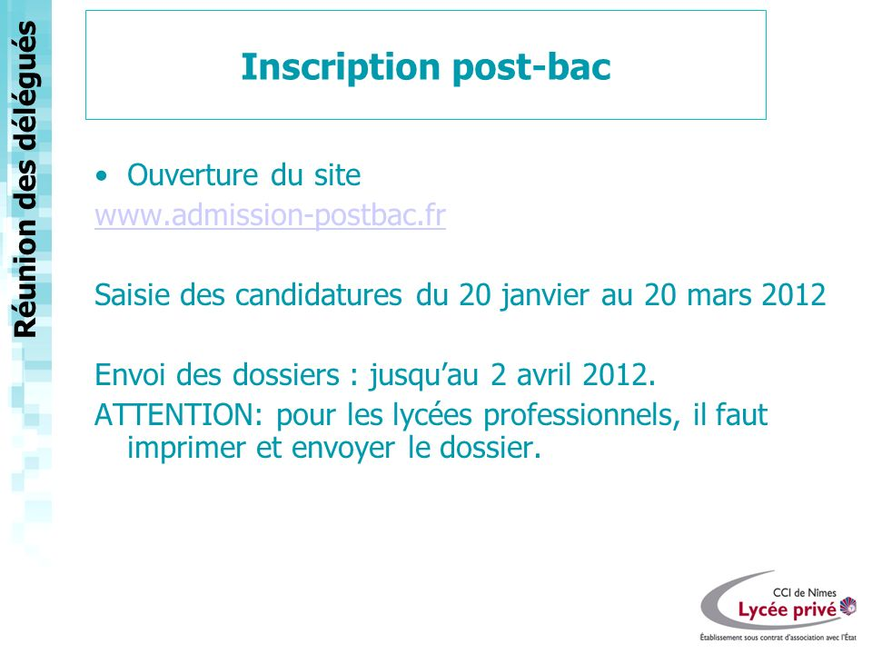 Inscription post-bac Ouverture du site www.admission-postbac.fr