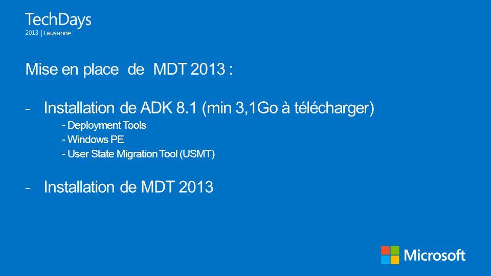 Installation de ADK 8.1 (min 3,1Go à télécharger)