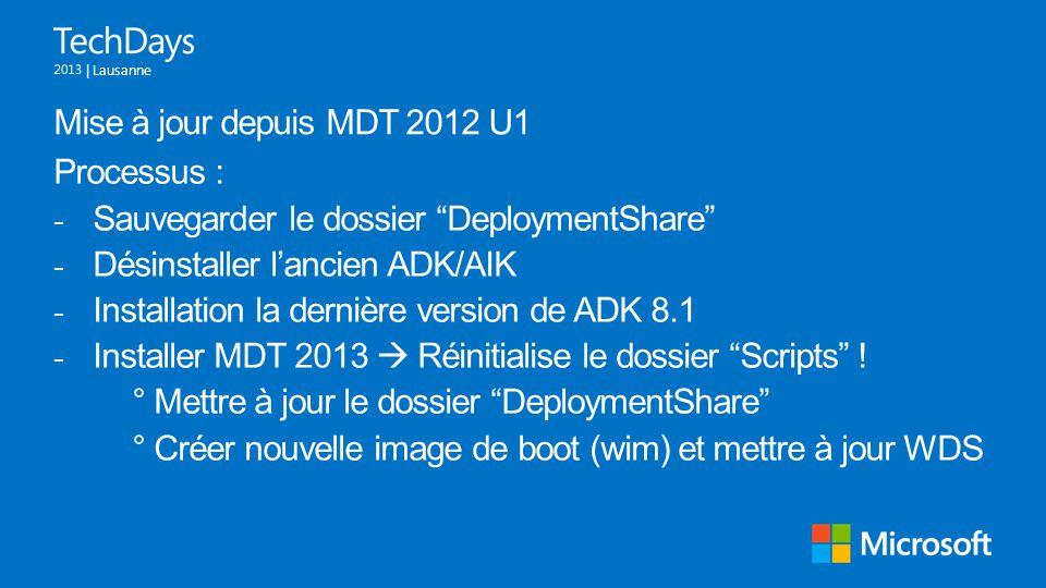 Mise à jour depuis MDT 2012 U1 Processus : Sauvegarder le dossier DeploymentShare Désinstaller l'ancien ADK/AIK.