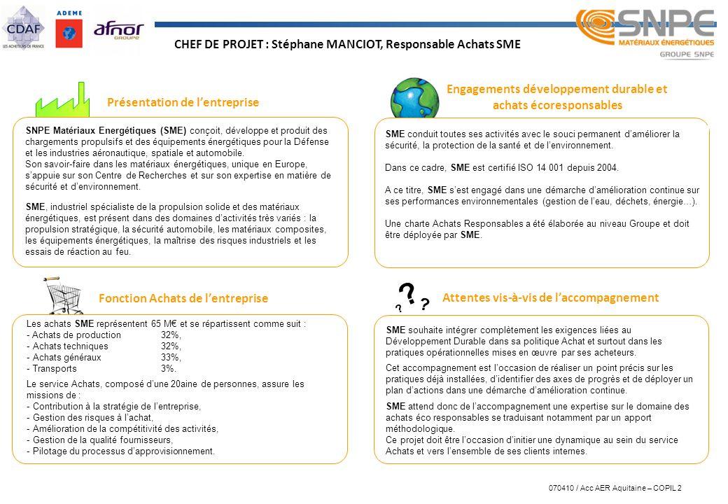 CHEF DE PROJET : Stéphane MANCIOT, Responsable Achats SME