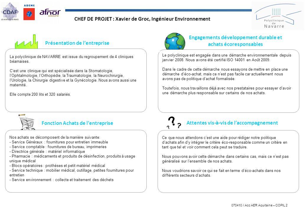 CHEF DE PROJET : Xavier de Groc, Ingénieur Environnement