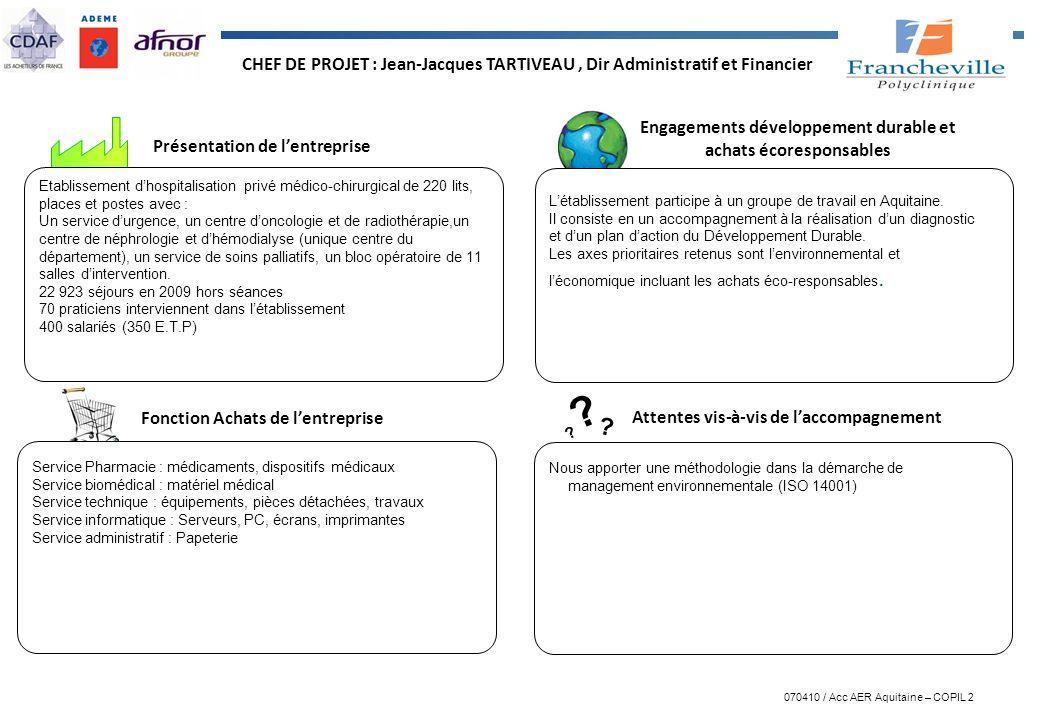 CHEF DE PROJET : Jean-Jacques TARTIVEAU , Dir Administratif et Financier
