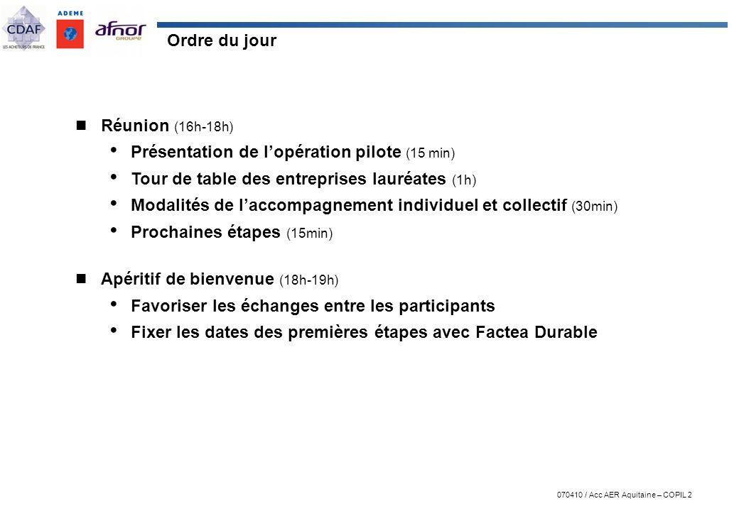 Ordre du jour Réunion (16h-18h) Présentation de l'opération pilote (15 min) Tour de table des entreprises lauréates (1h)