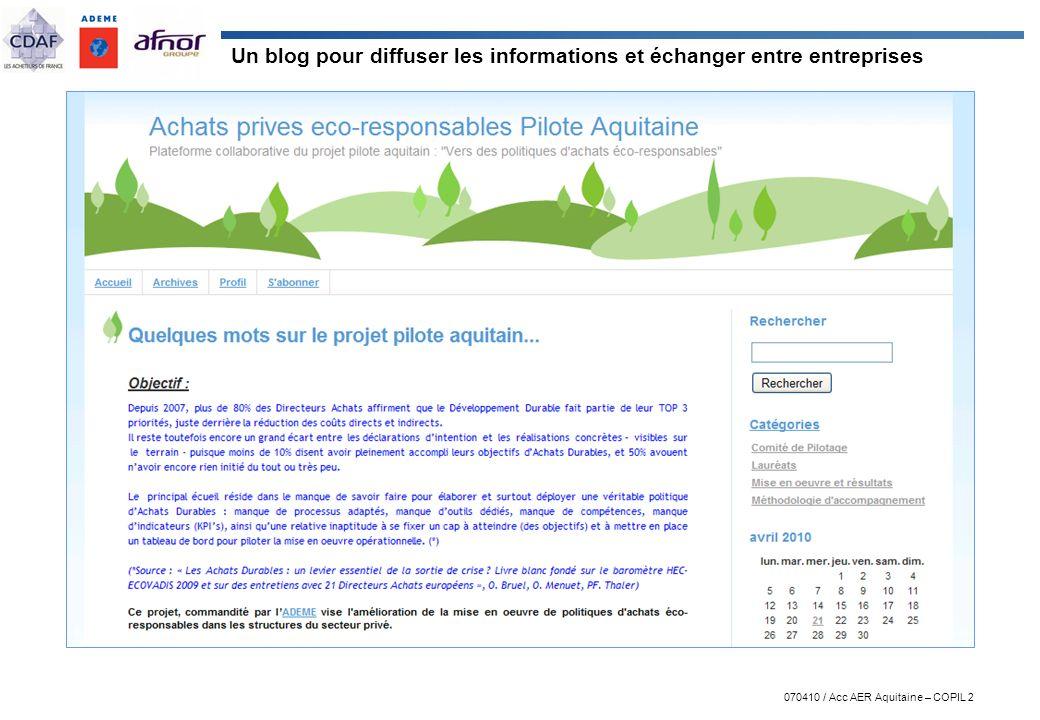 Un blog pour diffuser les informations et échanger entre entreprises