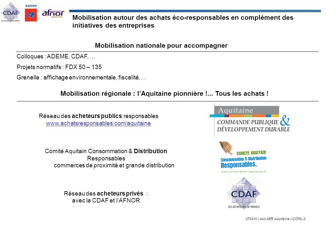 Mobilisation régionale : l'Aquitaine pionnière !... Tous les achats !