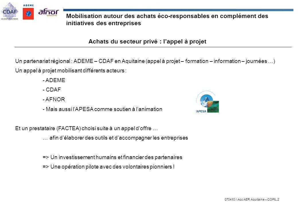 Achats du secteur privé : l'appel à projet
