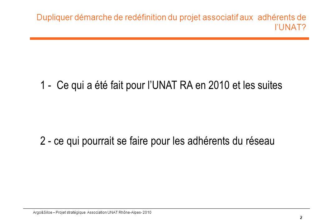 1 - Ce qui a été fait pour l'UNAT RA en 2010 et les suites