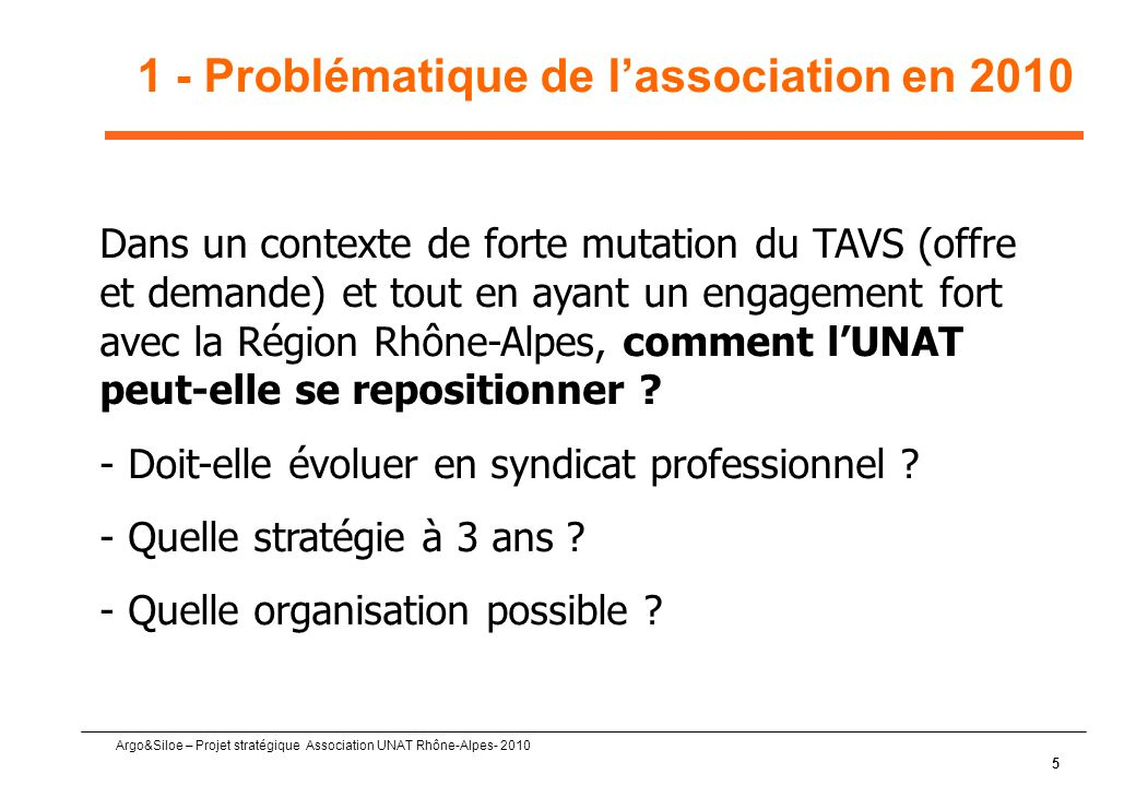 1 - Problématique de l'association en 2010