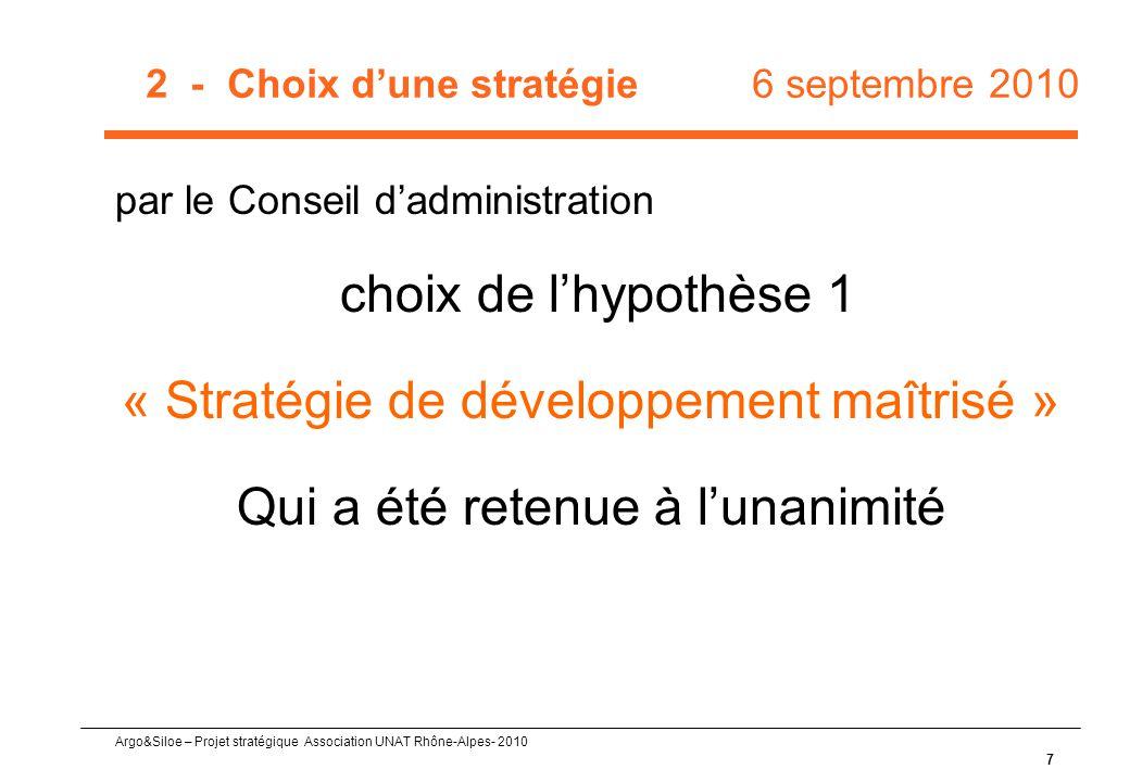 2 - Choix d'une stratégie 6 septembre 2010