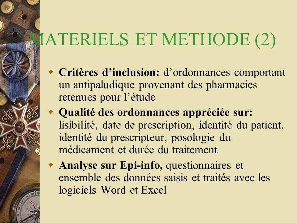 MATERIELS ET METHODE (2)