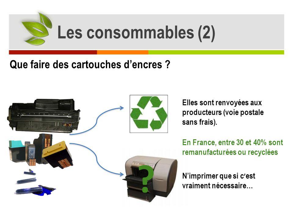 Les consommables (2) Que faire des cartouches d'encres