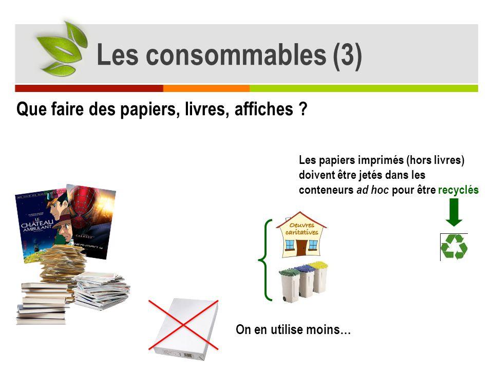 Les consommables (3) Que faire des papiers, livres, affiches