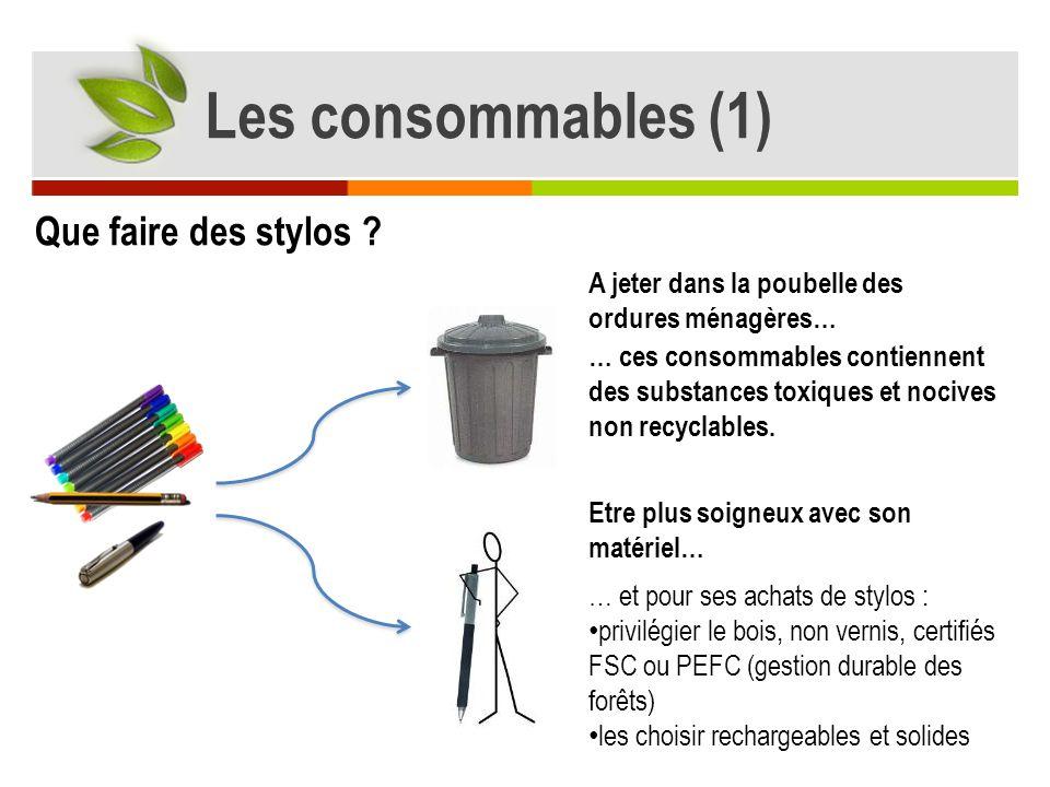 Les consommables (1) Que faire des stylos
