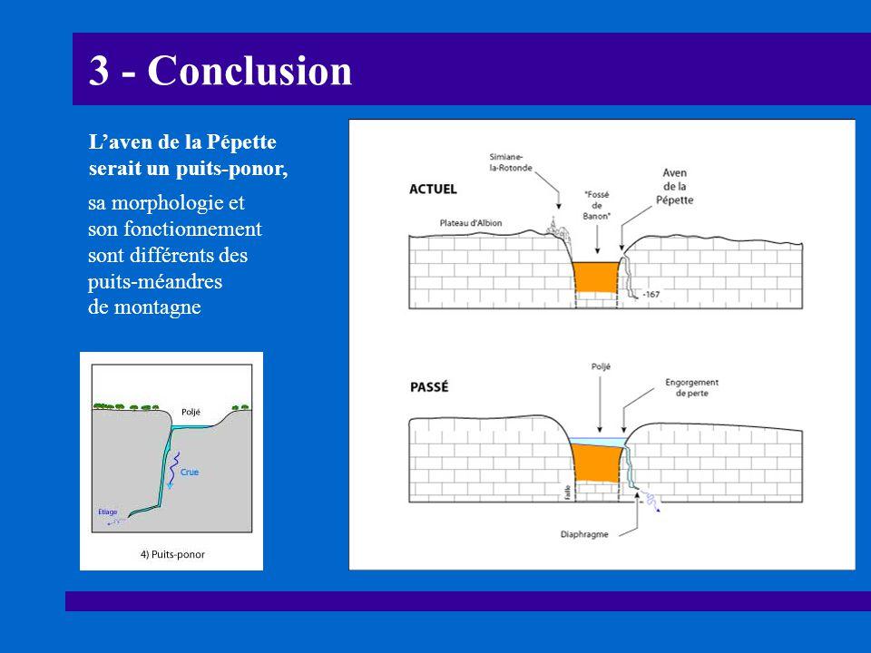 3 - Conclusion L'aven de la Pépette serait un puits-ponor,