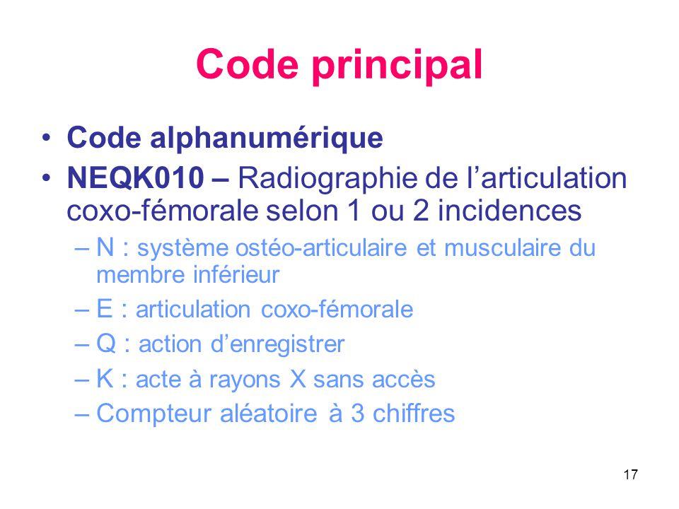 Code principal Code alphanumérique