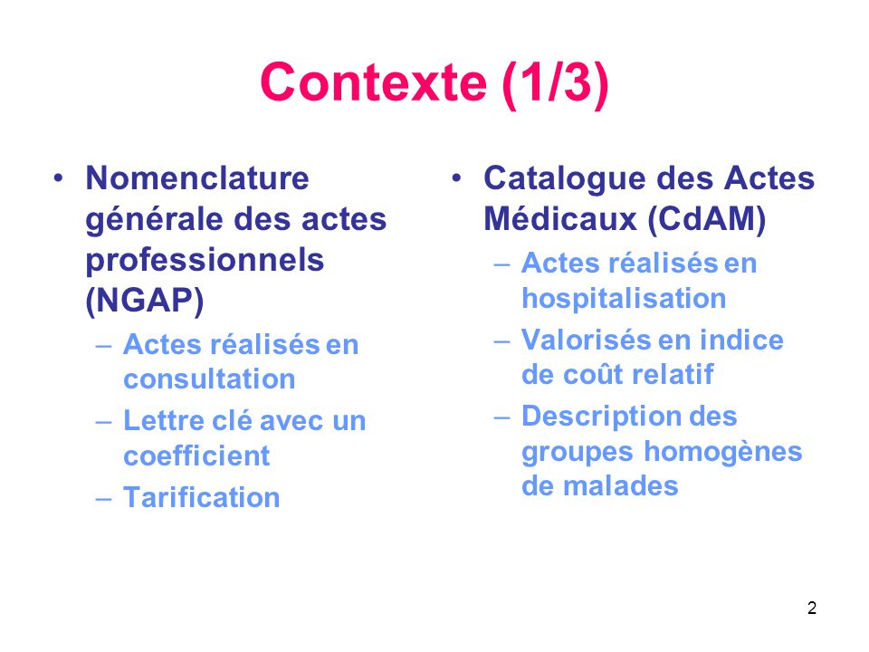 Contexte (1/3) Nomenclature générale des actes professionnels (NGAP)