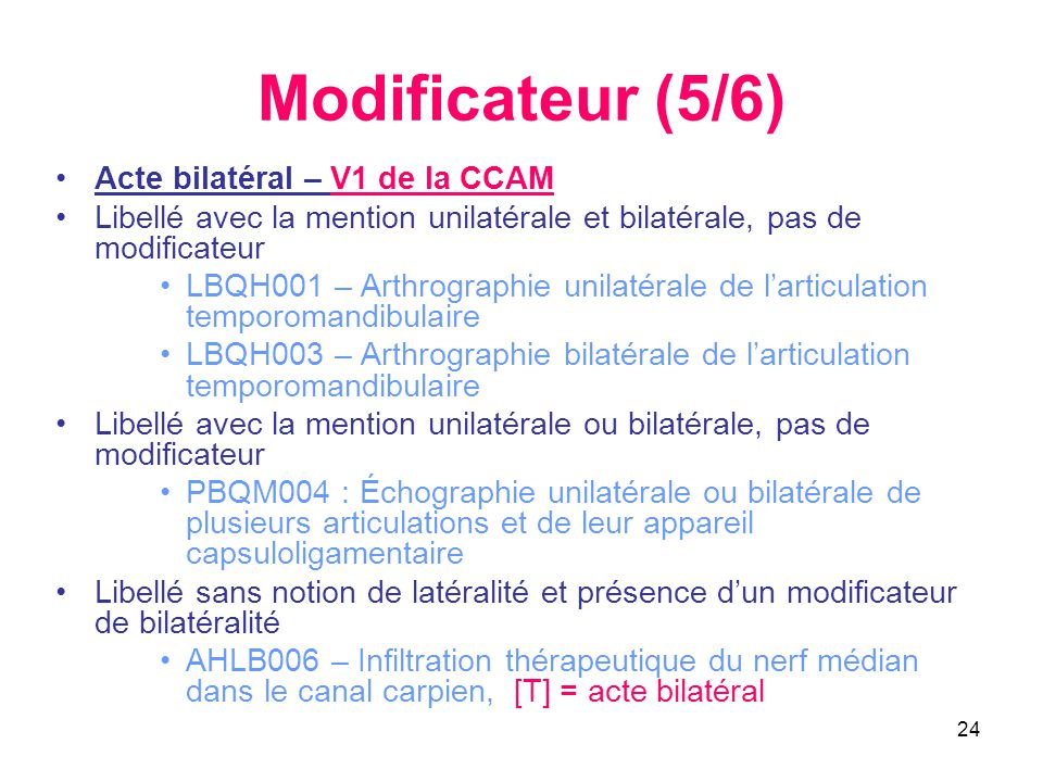 Modificateur (5/6) Acte bilatéral – V1 de la CCAM