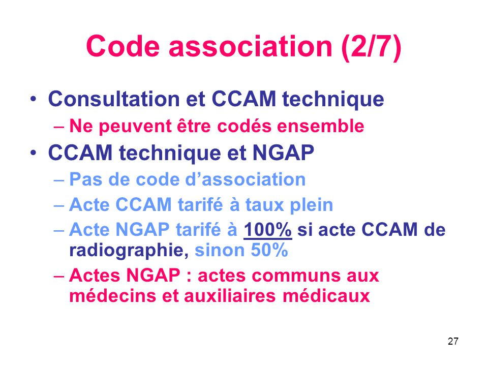 Code association (2/7) Consultation et CCAM technique