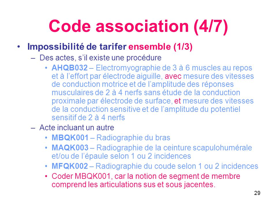 Code association (4/7) Impossibilité de tarifer ensemble (1/3)