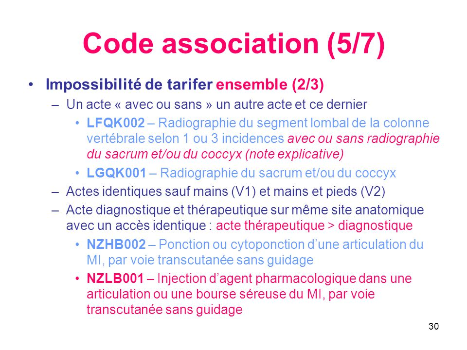 Code association (5/7) Impossibilité de tarifer ensemble (2/3)