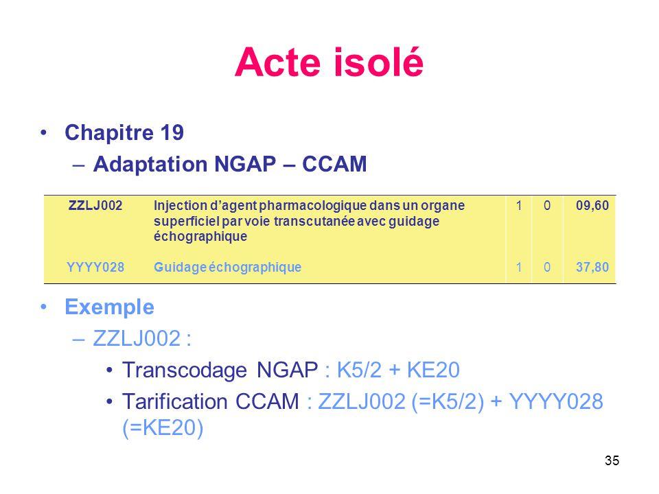 Acte isolé Chapitre 19 Adaptation NGAP – CCAM Exemple ZZLJ002 :