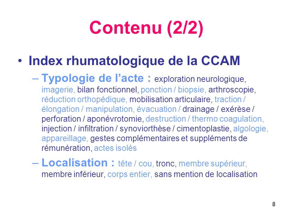 Contenu (2/2) Index rhumatologique de la CCAM