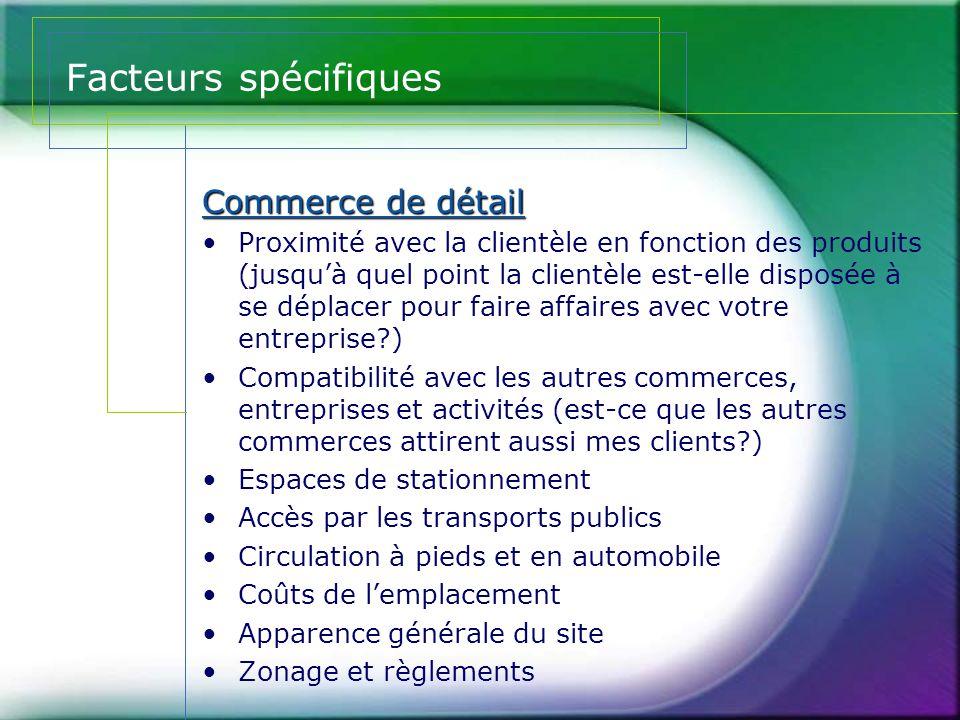 Facteurs spécifiques Commerce de détail