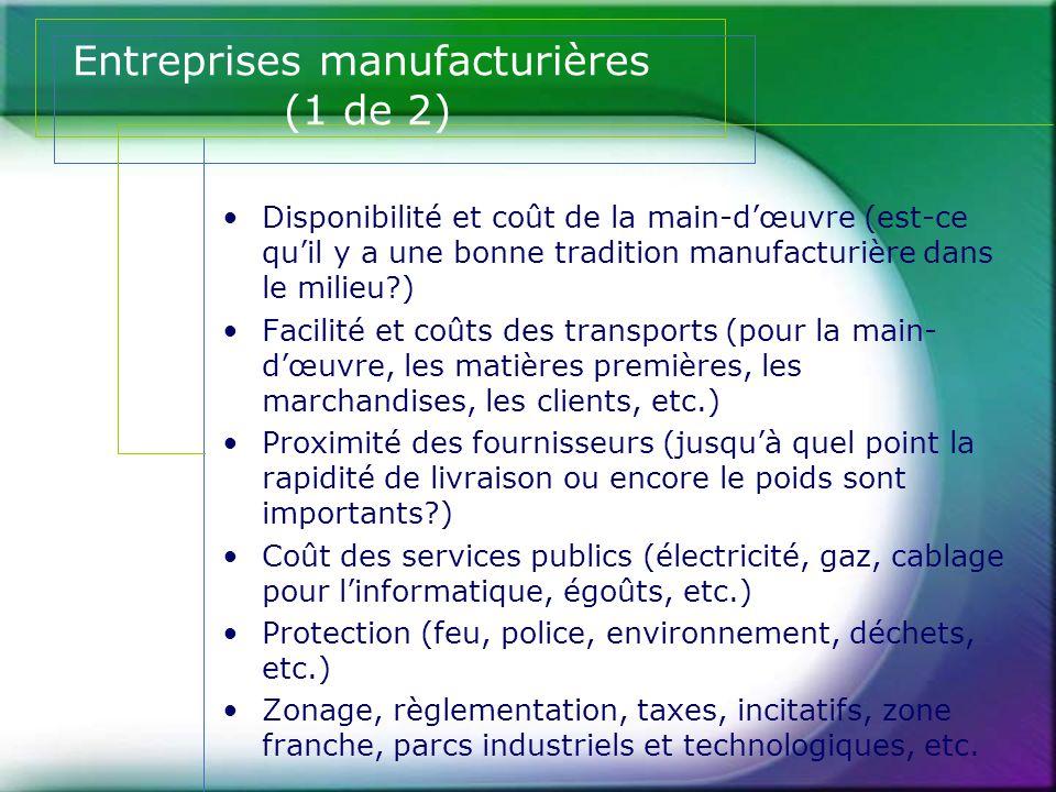 Entreprises manufacturières (1 de 2)