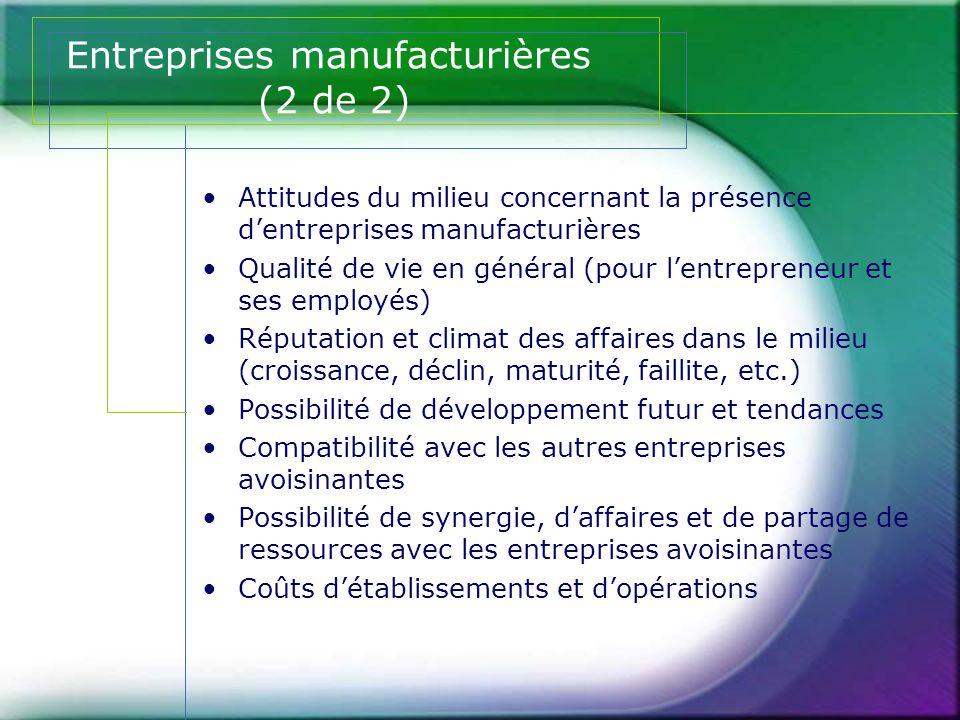 Entreprises manufacturières (2 de 2)