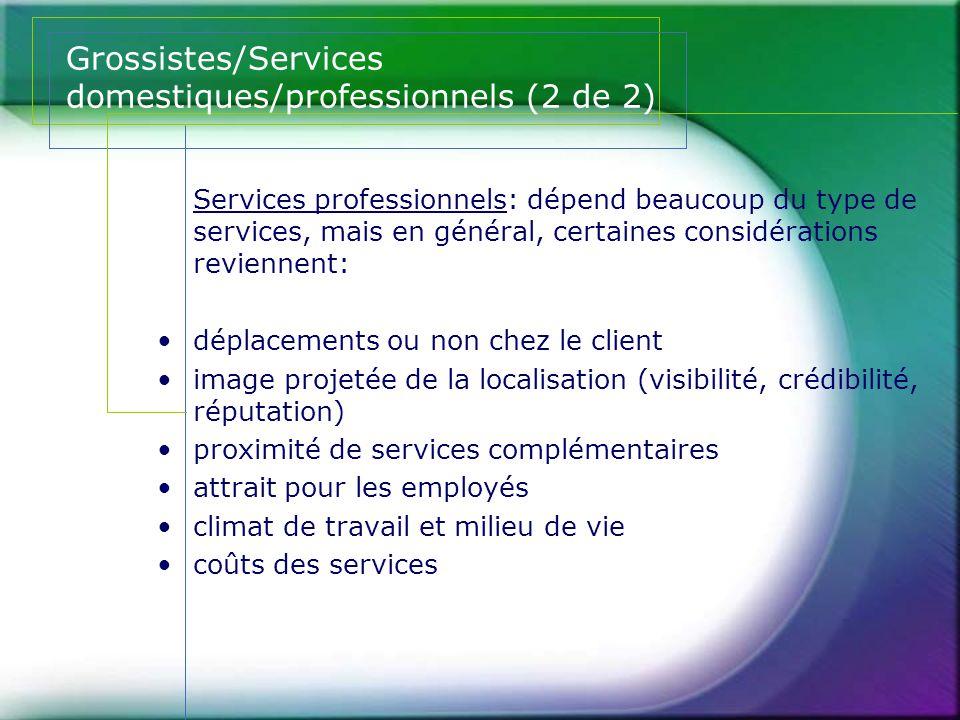 Grossistes/Services domestiques/professionnels (2 de 2)
