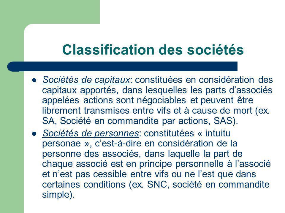 Classification des sociétés