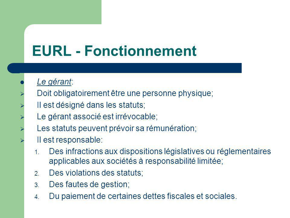 EURL - Fonctionnement Le gérant: