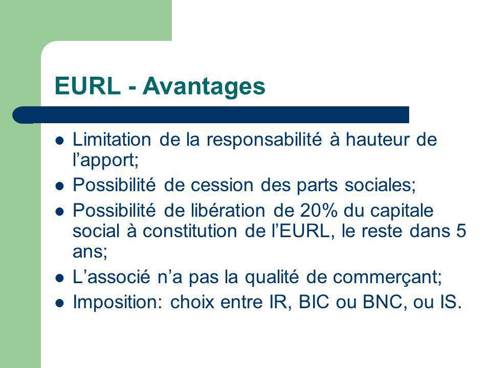 EURL - Avantages Limitation de la responsabilité à hauteur de l'apport; Possibilité de cession des parts sociales;