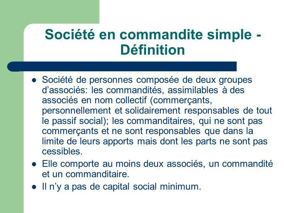 Société en commandite simple - Définition