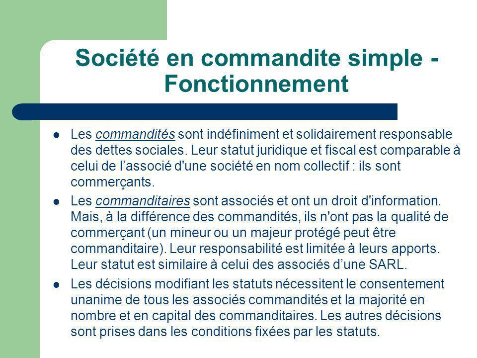 Société en commandite simple - Fonctionnement