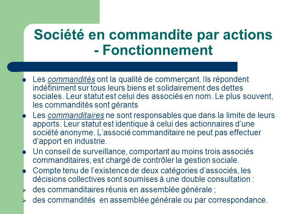Société en commandite par actions - Fonctionnement