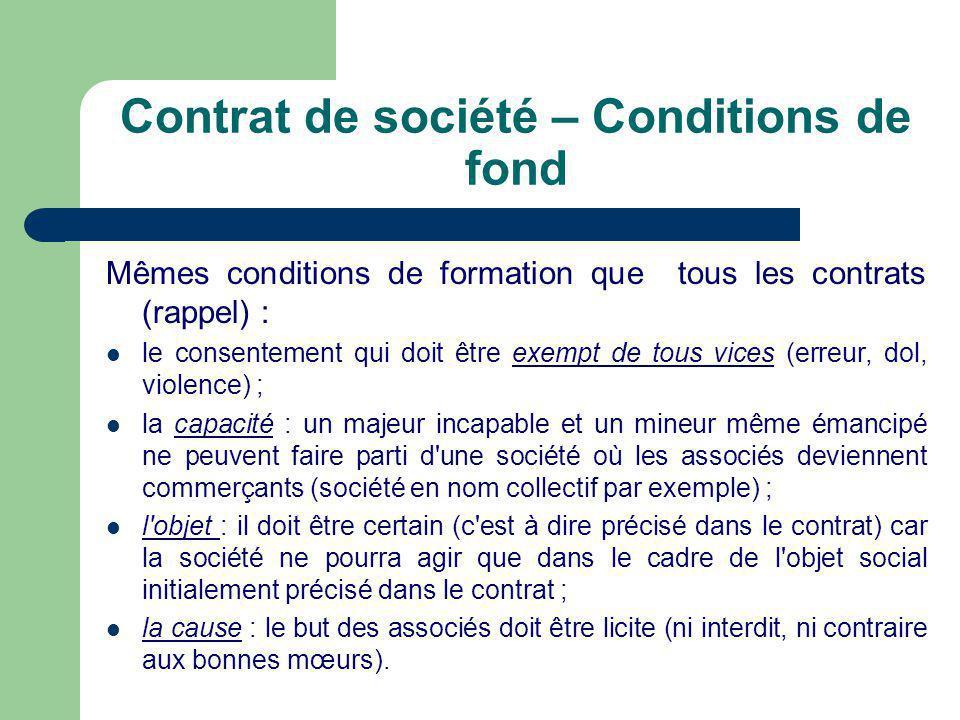 Contrat de société – Conditions de fond