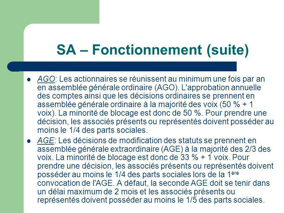 SA – Fonctionnement (suite)