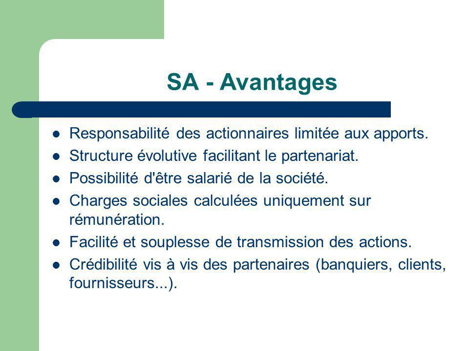 SA - Avantages Responsabilité des actionnaires limitée aux apports.