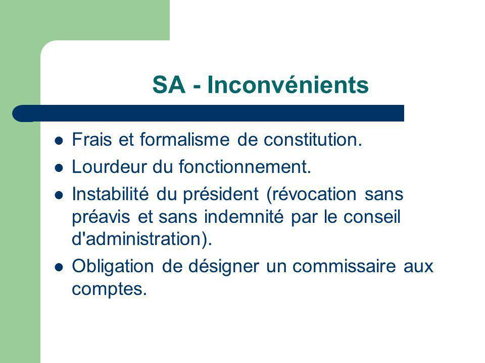SA - Inconvénients Frais et formalisme de constitution.