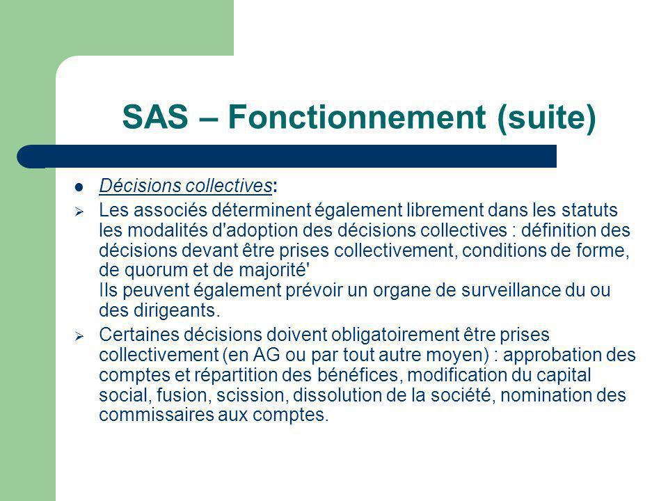 SAS – Fonctionnement (suite)