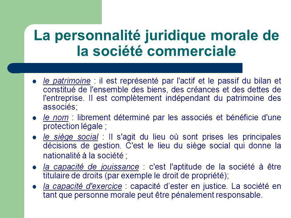 La personnalité juridique morale de la société commerciale