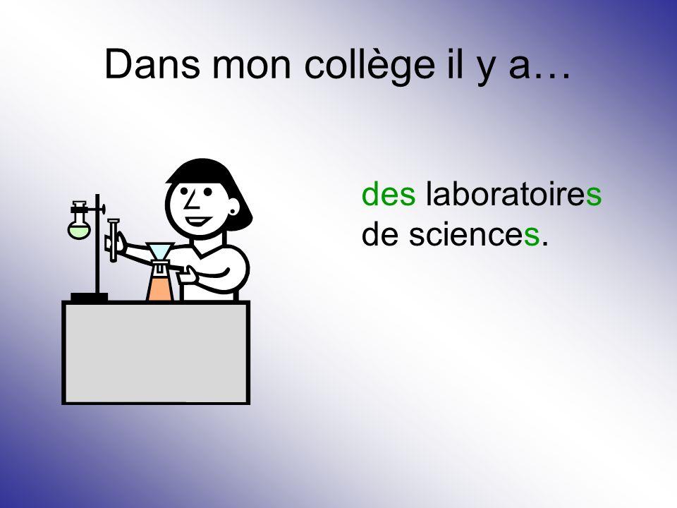 Dans mon collège il y a… des laboratoires de sciences.