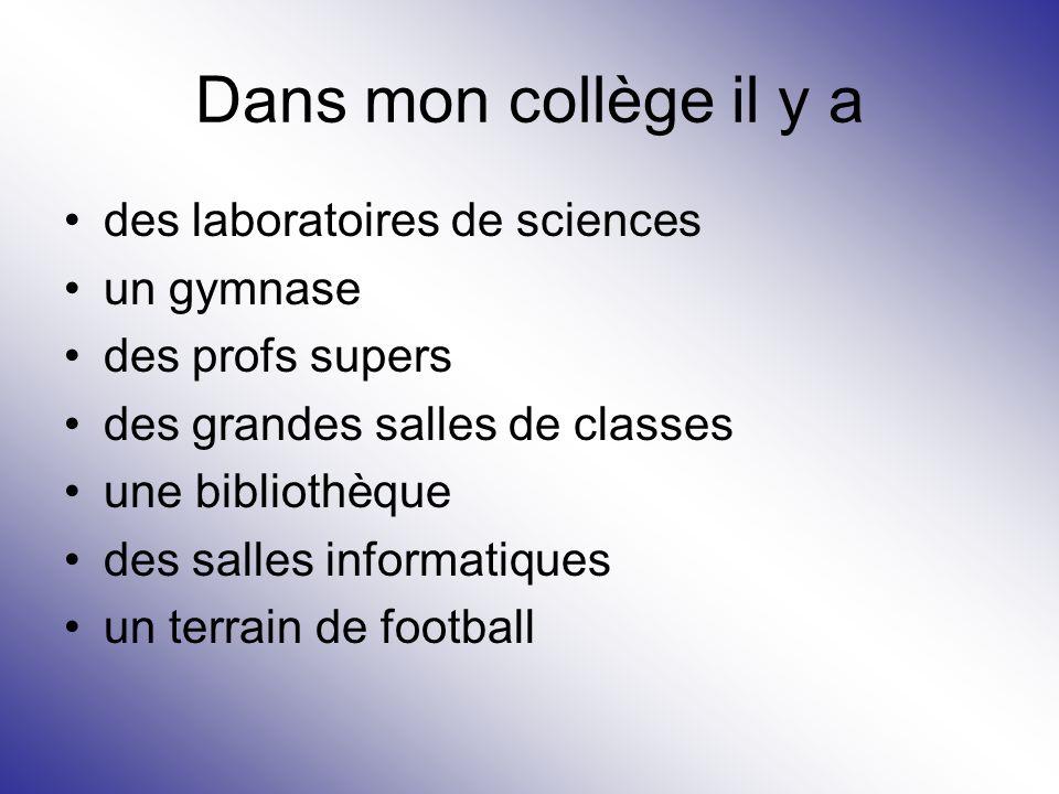 Dans mon collège il y a des laboratoires de sciences un gymnase