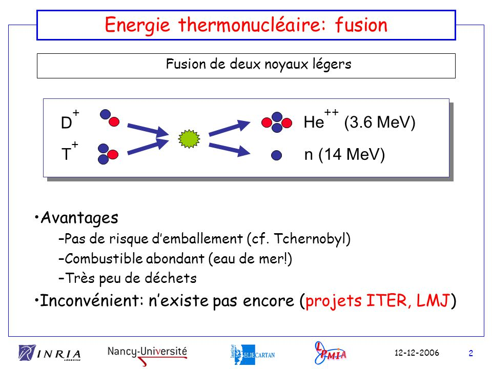 Energie thermonucléaire: fusion