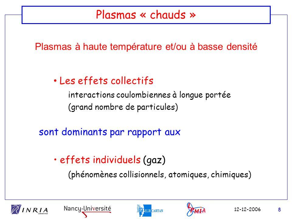 Plasmas à haute température et/ou à basse densité