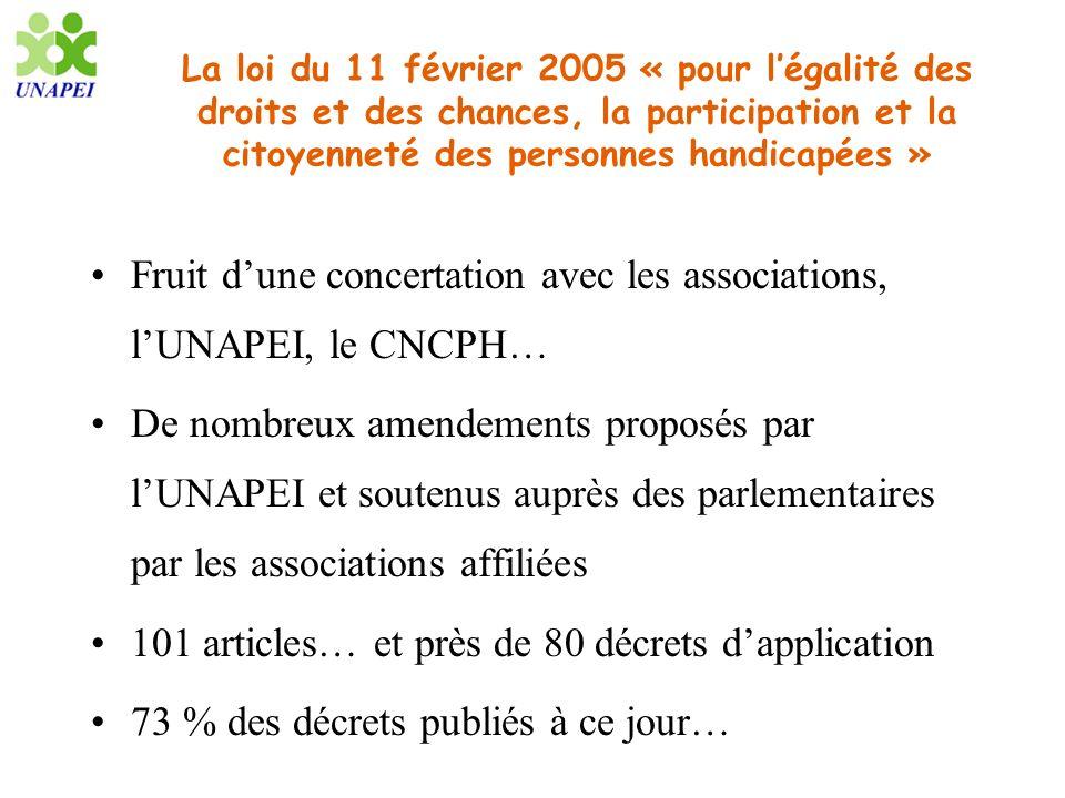Fruit d'une concertation avec les associations, l'UNAPEI, le CNCPH…