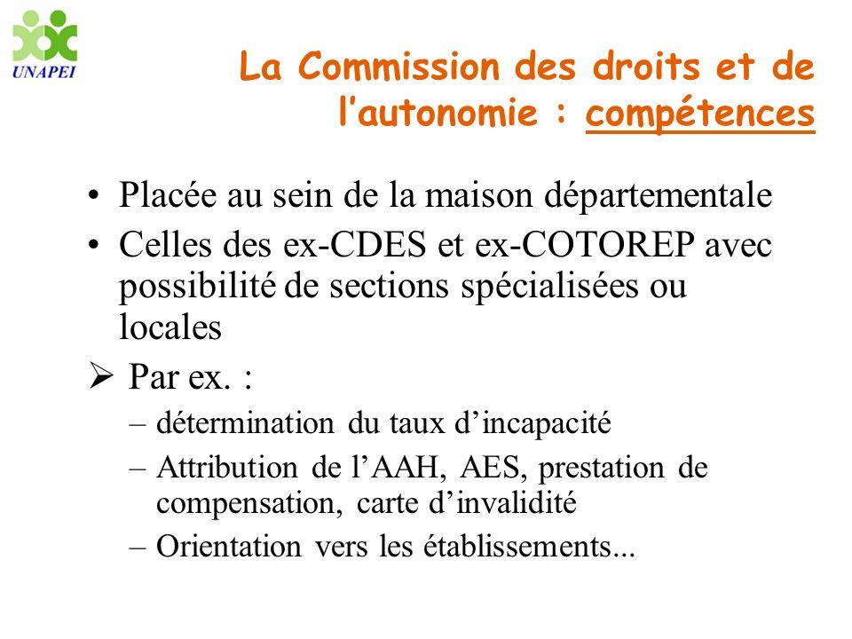 La Commission des droits et de l'autonomie : compétences